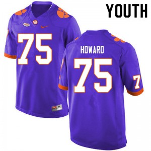 Youth NCAA #75 Trent Howard Clemson Tigers College Football Purple Jersey 368948-932