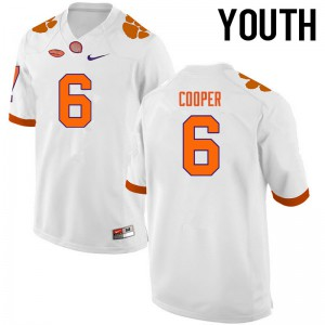 Youth NCAA Clemson Tigers #6 Zerrick Cooper College Football White Jersey 530323-429