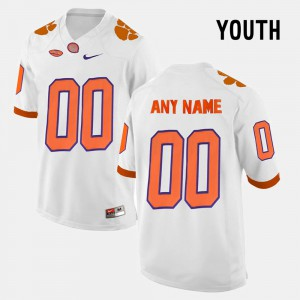 Youth Clemson Tigers #00 Custom College Limited Football White Jersey 791160-130
